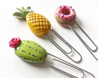 Three handmade handpainted mini clay cactus bloom, pineapple & doughnut page marker paper clips