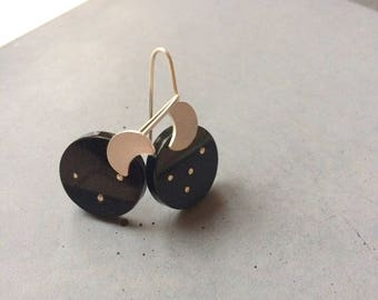 Long Sterling Silver Earrings with Silver Moon and Dots, Black Plexi, Starry Night, Modern Silver Jewelry, Contemporary art