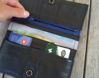 Ladies black vegan wallet - made from up-cycled bike tubes