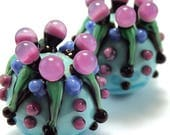Turquoise and Lilac Scrolled Pods