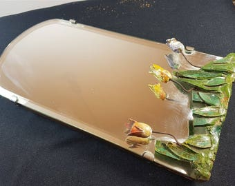 Vintage Barbola Flower Table or Vanity Mirror 1940's Original