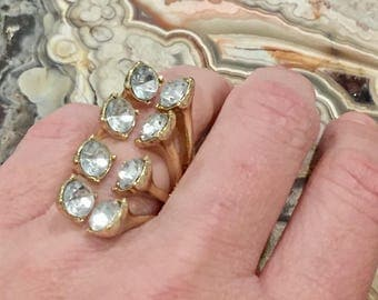 Dara Ettinger Clear Glass Crystal and metal open multi stone Ring sz 5
