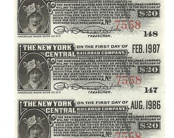 45 Old 1910's-20's RAILROAD Bond Coupons - 5 SHEETS - New York CENTRAL Railroad Bonds