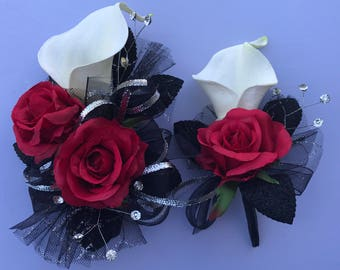 Calle Lily Red Rose Corsage & Boutonnière Set (Artificial Flowers)