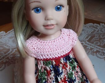 Crochet Baby Doll Top for 14 15 inch AG Wellie Wishers H4H Doll Pink Red Green Blue