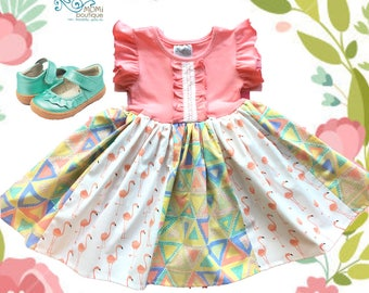 Flamingo dress, Flamingo party, toddler dress girls toddler custom Momi boutique