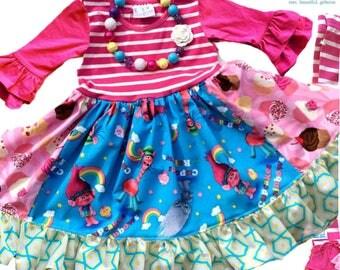 Trolls dress Cupcake and Rainbows, troll birthday dress,  Momi boutique custom dress