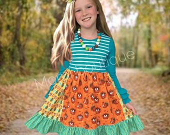 Turkey dress, Thanksgiving dress, Girls Thanksgiving, Girls toddler Turkey dress Owl Pilgrim Turkey Holiday dress Momi boutique custom dress