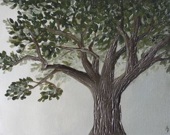 Tree Painting with textured bark - 11x14 original landscape painting on canvas
