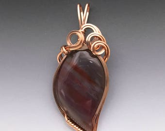 Rainbow Arizona Petrified Wood 14k Pink Rose Gold-Filled Wire Wrapped Pendant - Ready to Ship!