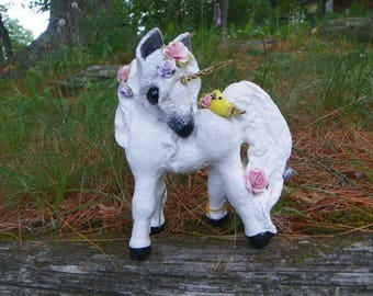 White Unicorn  Floral Pudgy Pony, Looking Back At A Bird
