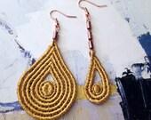fairuza asymmetrical mustard lace earrings / modern earrings / modern boho jewelry, mismatched earrings, yellow lace earrings, deco earrings