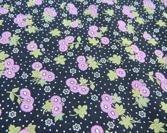 Sale--Vintage Black with Purple Flowers Fabric--Sale