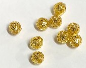 20 pcs of Gold plated filigree beads 8x7mm, Bulk gold round spacer beads