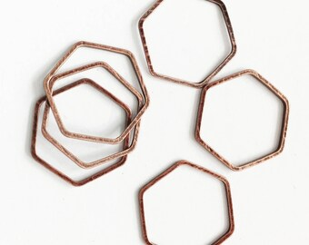 20 pcs of Antique  copper double sided  Hexagon connector 16x18mm, bulk copper  linking connector