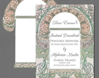 Art Nouveau Artwork for Wedding Invitations - Alphonse Mucha - JPG Instant Download - 2 versions of floral frame - Graphics for Invitations