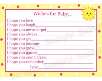 24 Wishes for Baby Cards - PINK You are My Sunshine Baby Shower  - Sunshine Baby Shower  - Advice Cards - Wishes Cards