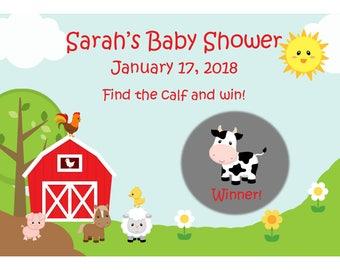 24 Personalized Scratch Off Game Cards - Down on the Farm - Barnyard Baby Shower - Barnyard Birthday Party = Farm Baby Shower - Farm Animals