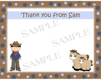 20 Personalized Cowboy Birthday Party Thank You Cards - Western Birthday - Western Thank You Cards
