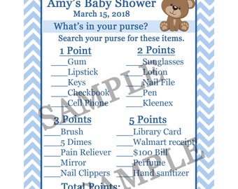24 Baby Shower Game Cards  Whats In Your Purse Game  - Teddy Bear Baby Shower - Teddy Bear in Blue - Purse Game