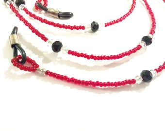 Red and Black Beaded Eyeglass Chain