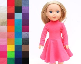Fits like Wellie Wishers Doll Clothes - Flared Mock Neck Dress, You Choose Color