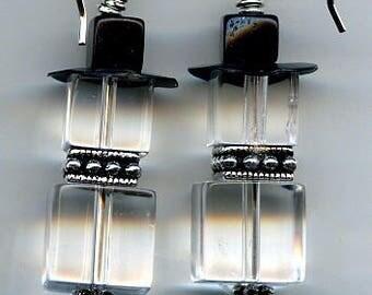 Ice Cube Snowman Sterling Silver Earrings
