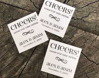 50 Wedding Drink Tickets - Redeem for a Drink Coupon - Party Bar Tickets - Square Rustic - One Drink - Admit one Drink Token - Personalized