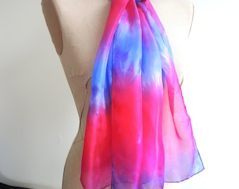 NEW Appassionata Pink medium silk scarf -hand-dyed deep pinks viloets and purples- ready to ship OOAK unique