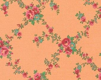 Sugar Bloom - Rose Trellis -Tangerine-Verna Mosquera-Free Spirit- Floral- Roses- Cotton -Flowers- WindyRobinCotton- Choose your cut- Apparel