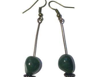 Bloodstone Earrings 22 - Green Nugget Antiqued Brass