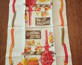 VIntage Linen Calendar Dish Towel Tea Towel General Store Red Potbelly Stove