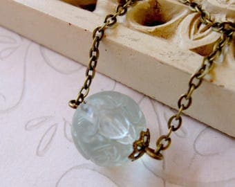 Aquamarine gemstone necklace, carved bead, brass or silver chain