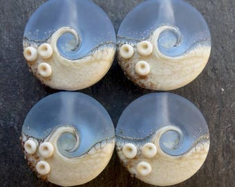 Lampwork Small Focals Sprees (4) Blue