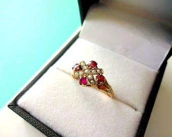 Victorian 10kt Gold Ruby and Seed Pearl Ring Size 5