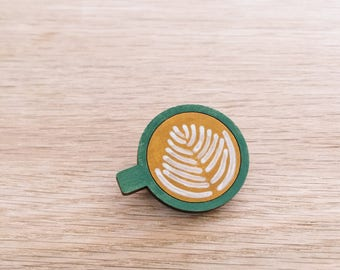Coffee wooden brooch . Wooden pin . Lapel pin . Badge . Coffee mug . Coffee lover . Gift for Her . Gift for Teens . But First Coffee