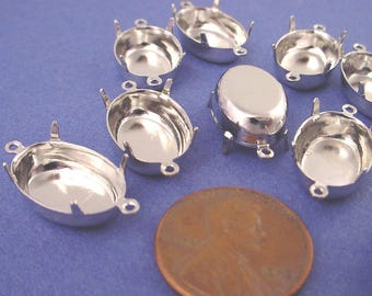 12 Silver tone Oval Prong Settings 16x11 2 Ring closed back