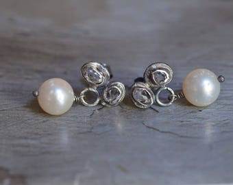 Herkimer Diamond Quartz Earrings - Japanese Akoya Pearl Earrings - Oxidized Sterling Silver Post Earrings - Quartz Studs - Dangle Posts