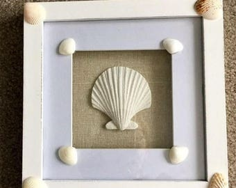 JULY SALES EVENT Beach Theme Shadow Box - Sea Shell Decor - Beach Decor - Summer Decor - Upcycled Beach Decor - Gift Idea - Mother's Day - M