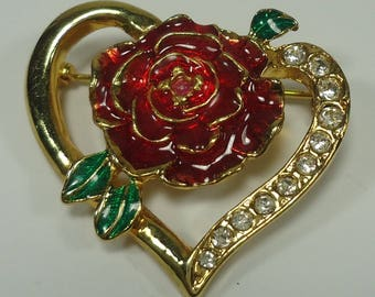 Gold Tone Heart With Rhinestones And Enameled Rose With Enameled Leaves Pin / Brooch