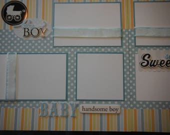 2 Premade Baby Boy 12x12 Scrapbook Pages for your son or family and album