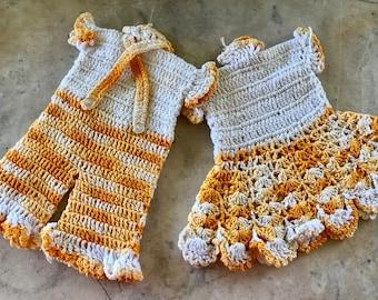 Pair of Vintage Hand Crochet Orange and Off White Girls Dress Boys Pants Whimsical Potholders
