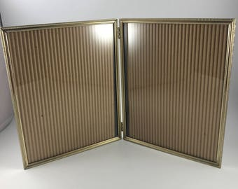 vintage folding 8 x 10 double gold metal hinged bifold picture photo frame with glass - Double Glass Frame