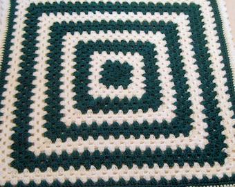 Handmade Crocheted Lap Robe Granny Square Acrylic Yarn Jade Green and White