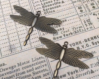 Set of 2 Antiqued Brass Dragonfly Charms