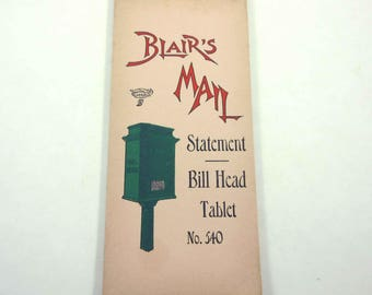 Vintage Unused Blair's Mail Statement Bill Head Tablet Book or Ledger with Old Fashioned Mail Box