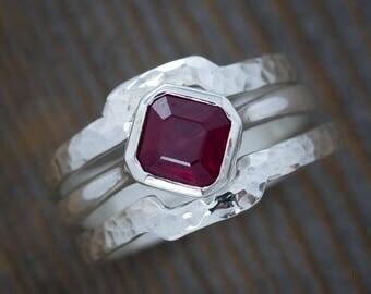 Asscher Cut Ruby Ring Solitaire Gemstone, Argentium Sterling Solitaire Ring, Stacking Ring or Engagement Ring