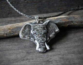 Majestic Elephant - unique fused glass pendant