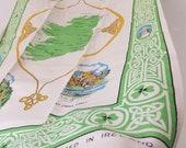 Vintage Irish Tea Towel Souvenir of Ireland with Map & Vignettes of Irish Landmarks Blarney Castle, Giant's Causeway Celtic Knot Decor