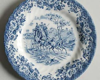 Bread & Butter Plate in Coaching Scenes Blue by Johnson Brothers 1963 - 1999 Discontinued, Blue and White China